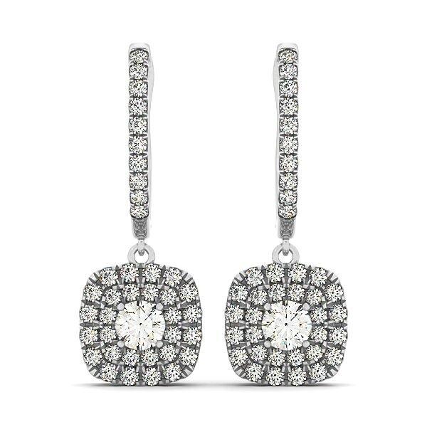 Round Diamond Double Cushion Halo Drop Earrings