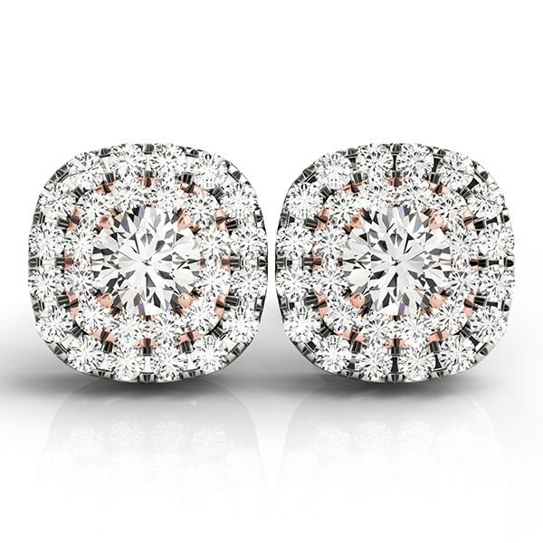 Round Diamond Cushion Halo Earrings