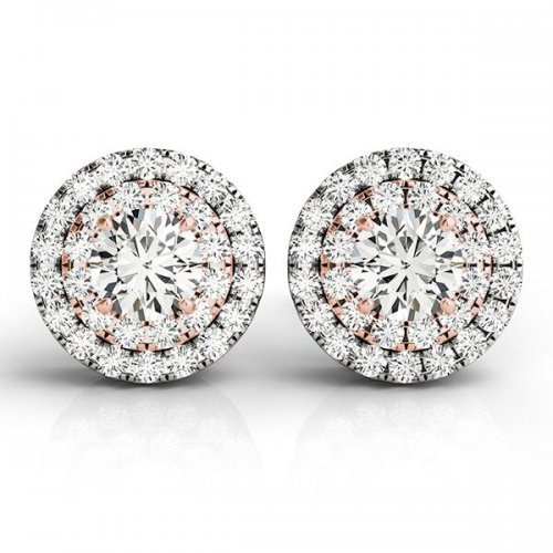 Round Diamond Round Halo Earrings