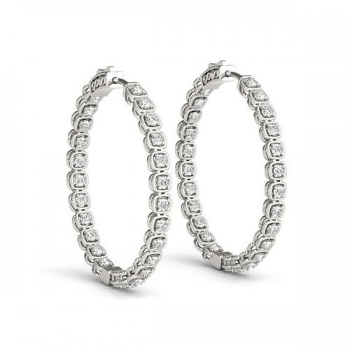 Fancy Inside Out Diamond Hoop Earrings