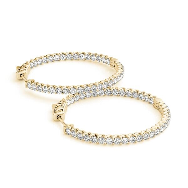 Oval Inside Out Diamond Hoop Earrings