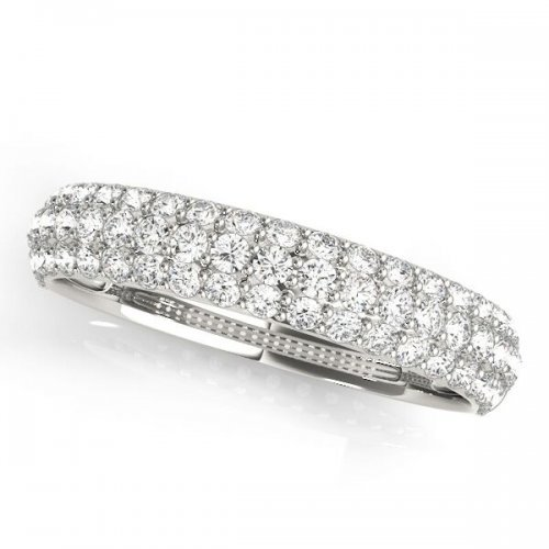 Three Row Pave Diamond Wedding Band
