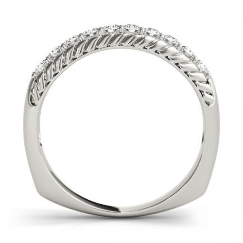 Carved Design Round Diamond Wedding Band