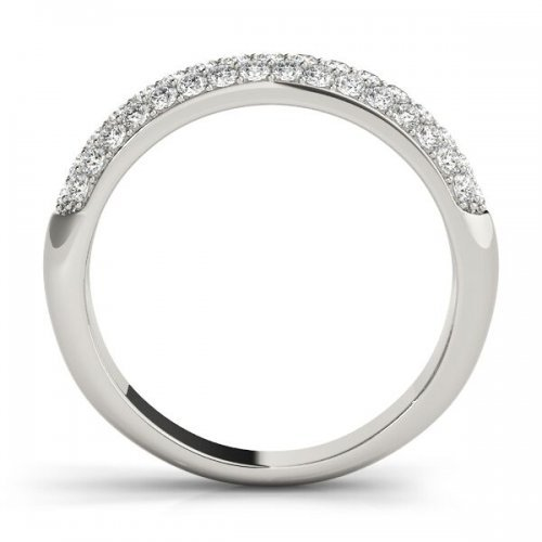 Triple Row Diamond Pave Wedding Band