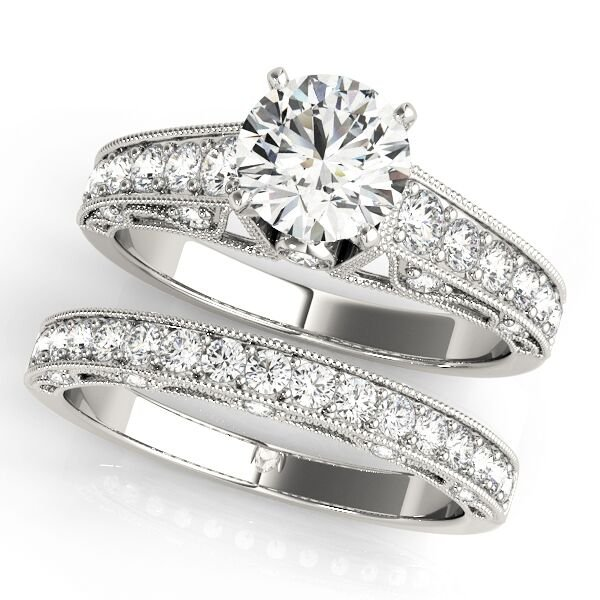 Vintage Milgrain Accent Round Diamond Engagement Ring Set