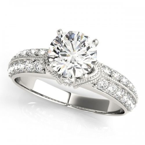 Vintage Milgrain Accent Round Diamond Engagement Ring