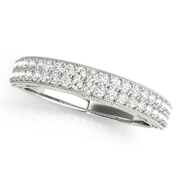 Double Row Diamond Pave Wedding Band