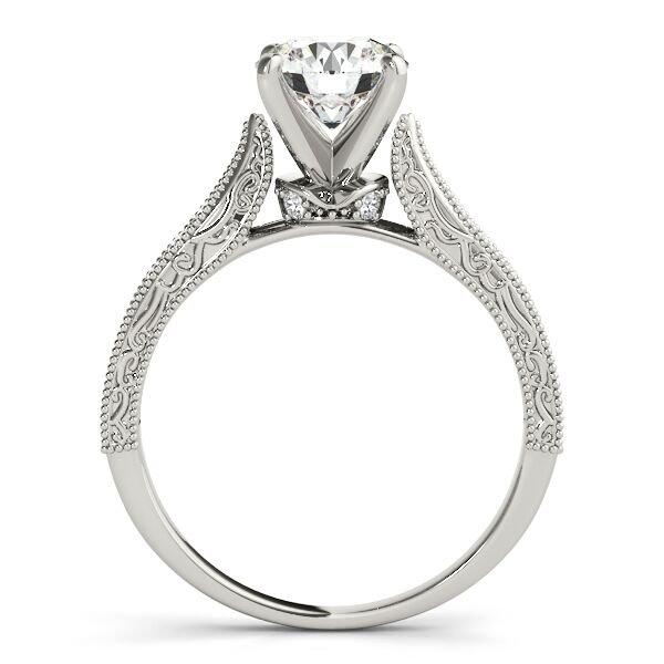 Vintage Round Diamond Milgrain Engagement Ring