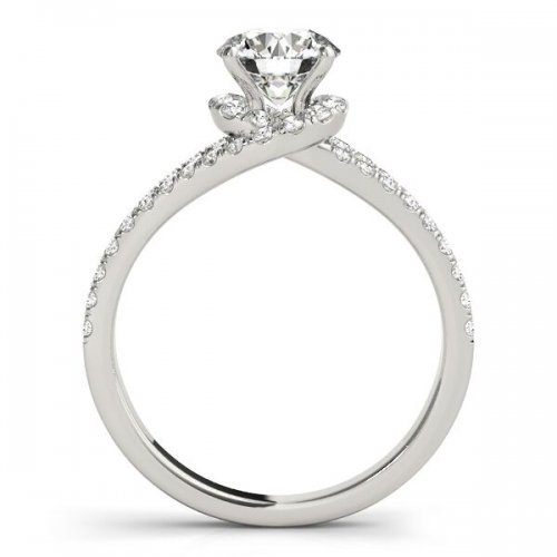 Bypass Pave Diamond Engagement Ring