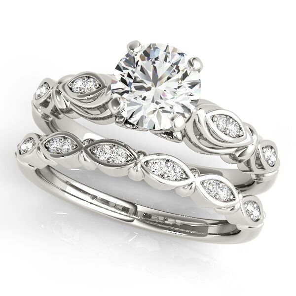 Free Form Diamond Accent Engagement Ring Set