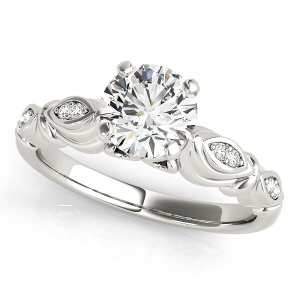 Free Form Diamond Accent Engagement Ring