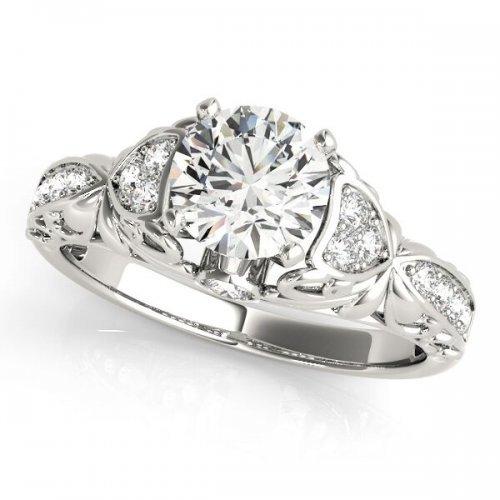 Vintage Filigree Accent Diamond Engagement Ring