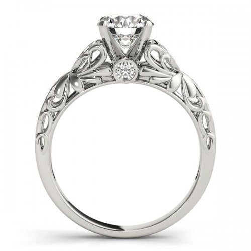 Vintage Filigree Accent Diamond Engagement Ring