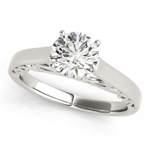 Classic Four Prong Solitaire Engagement Ring on Cathedral Filigree Shank