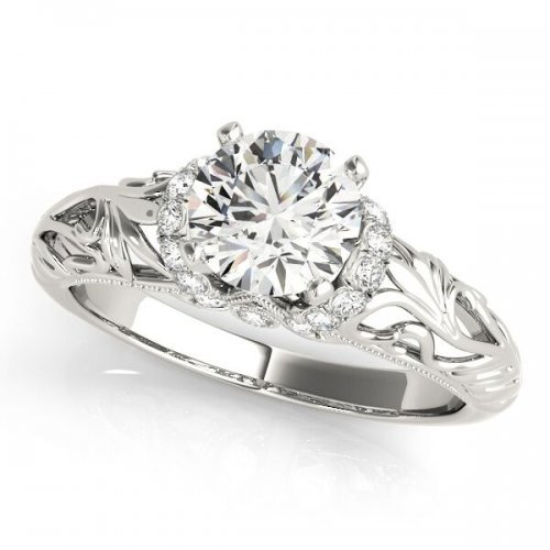 Floral Filigree Solitaire Engagement Ring