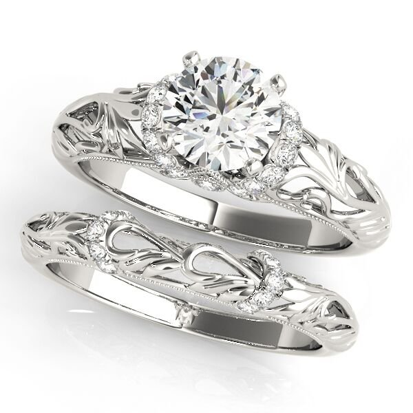 Floral Filigree Diamond Matching Band