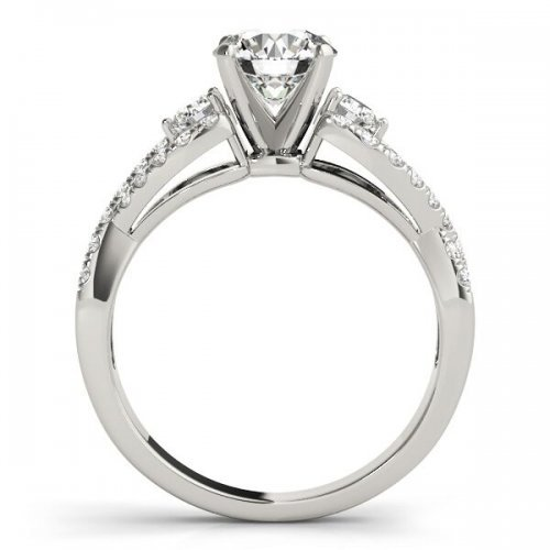 Twisted Shank Pave Diamond Engagement Ring
