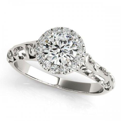 Vintage Filigree Round Diamond Halo Engagement Ring