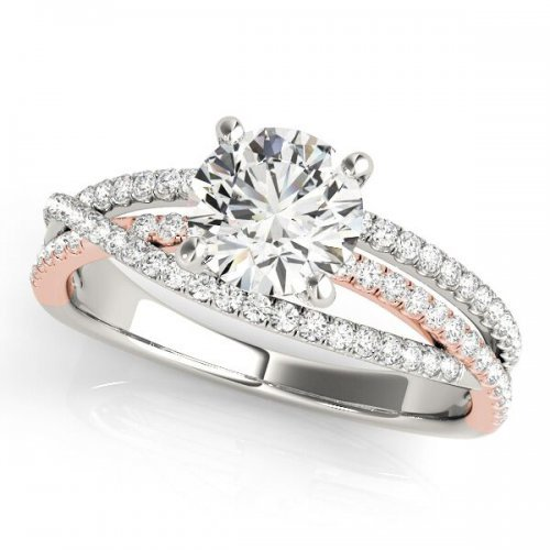 Twisted Three Row Pave Diamond Engagement Ring