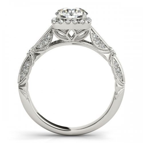 Knife Edge Round Diamond Cushion Halo Engagement Ring