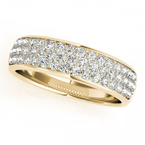 Tree Row Diamond Pave Wedding Band