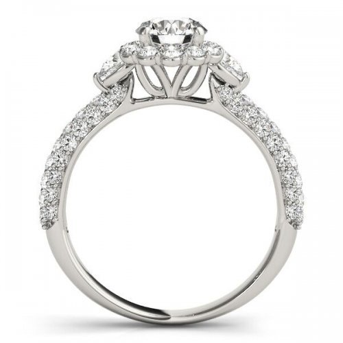Floral Style Round Diamond Halo Engagement Ring