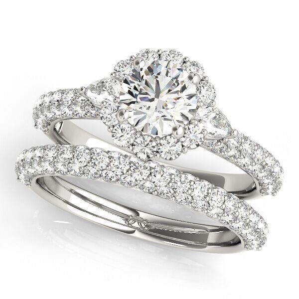 Floral Style Round Diamond Halo Engagement Ring Set