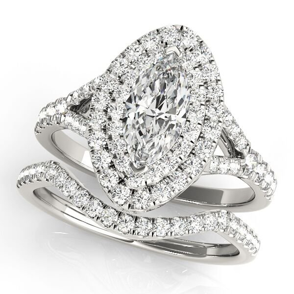 Marquise Diamond Halo Split Shank Engagement Ring Set