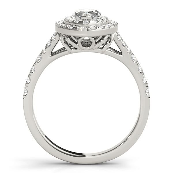 Marquise Diamond Halo Split Shank Engagement Ring