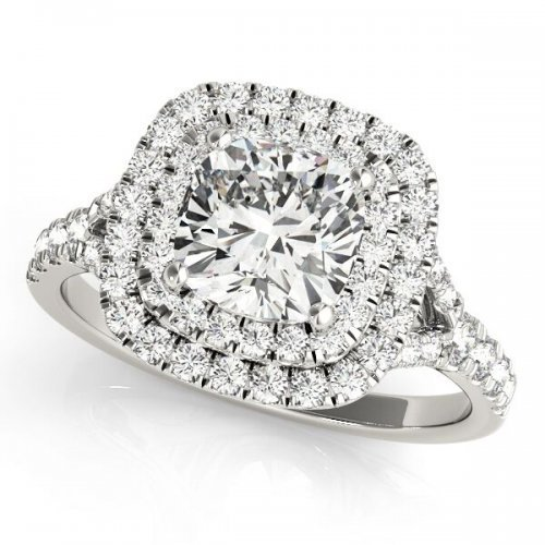 Cushion Diamond Double Halo Split Shank Engagement Ring