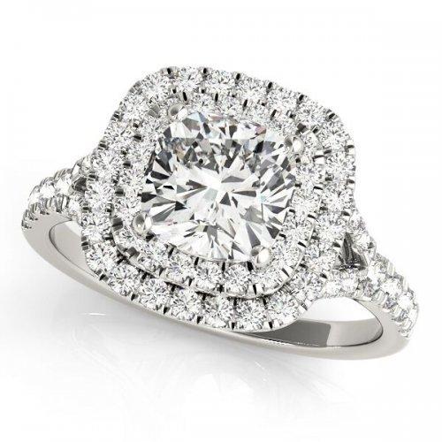 Cushion Diamond Double Halo Split Shank Engagement Ring