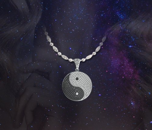 Coexist Chinese Yin Yang Micropave Diamond Pendant