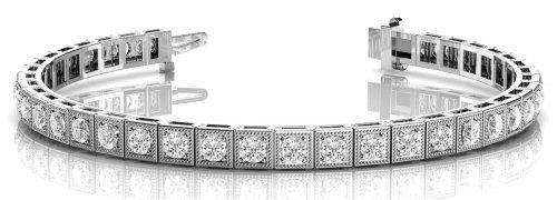 Antique Square Link Diamond Bracelet