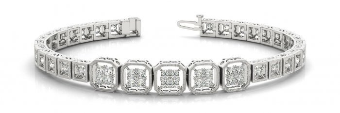 Quad Square Diamond Bracelet