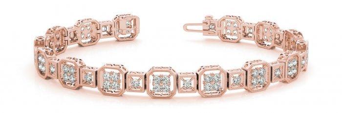 Vintage Quad Square Diamond Bracelet