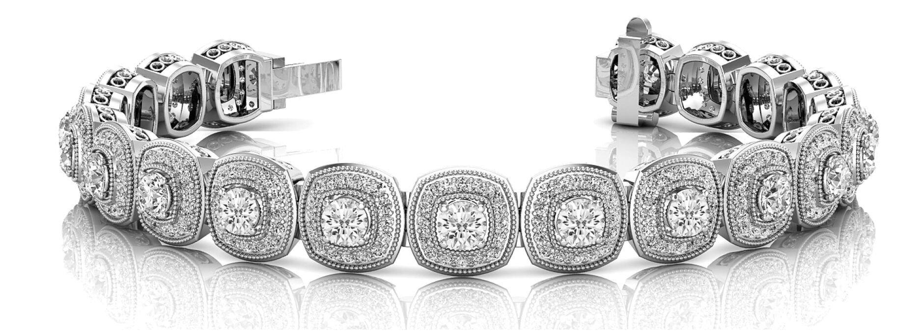 Round Halo Diamond Bracelet