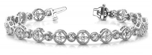 Diamond Cross Link Circle Bracelet