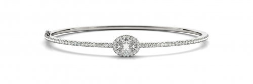 Oval Cut Halo Diamond Bangle Bracelet