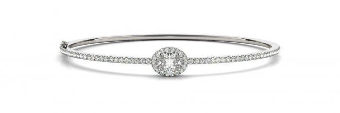 Oval Cut Halo Diamond Bangle Bracelet
