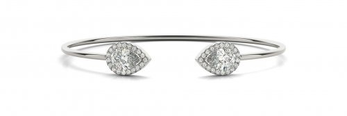 Pear Shaped Halo Diamond Bangle Bracelet