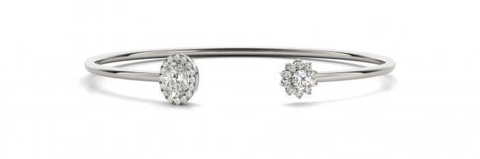 Open Flower & Oval Halo Diamond Bangle Bracelet