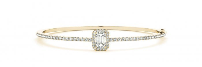 Emerald Cut Halo Diamond Bangle Bracelet