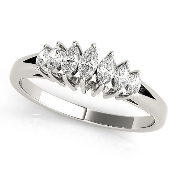 7 Stone Graduated Marquise Diamond Wedding Anniversary Ring