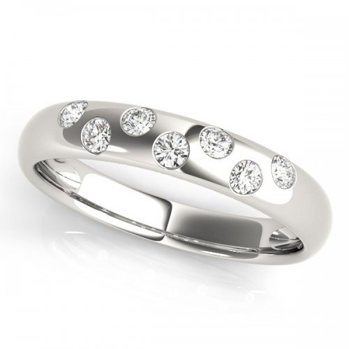 Zig Zag Bezel Set Diamond Wedding Band