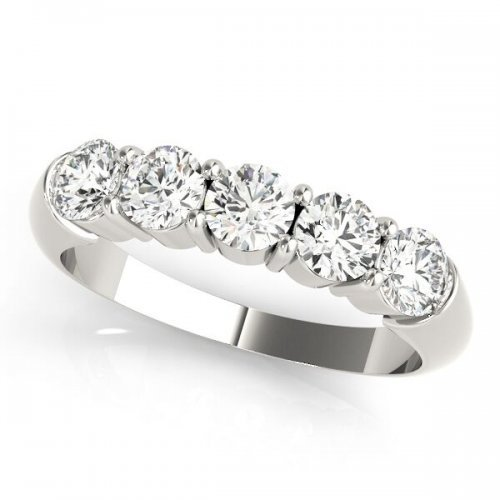 5 Stone Round Diamond Wedding Anniversary Ring