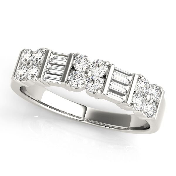Double Row Fancy Diamond Wedding Ring