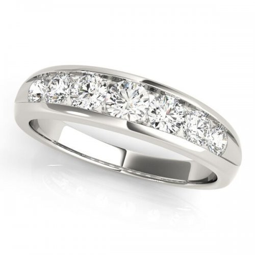 7 Stone Channel Set Graduated Diamond Anniversary Ring