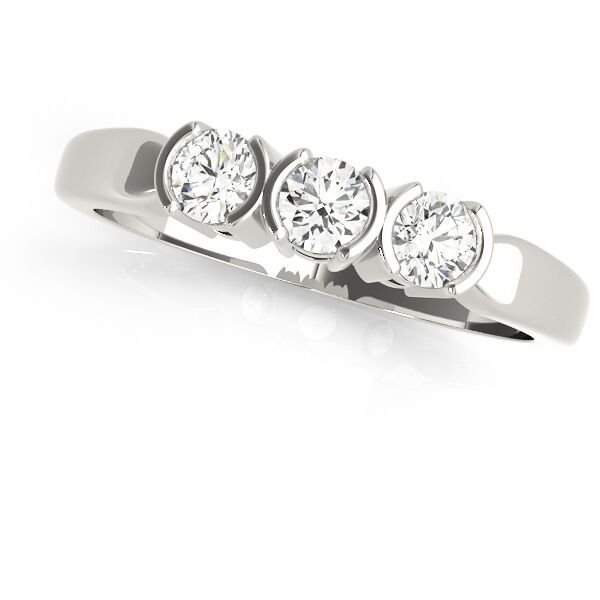Three Stone Half Bezel Round Diamond Wedding Band