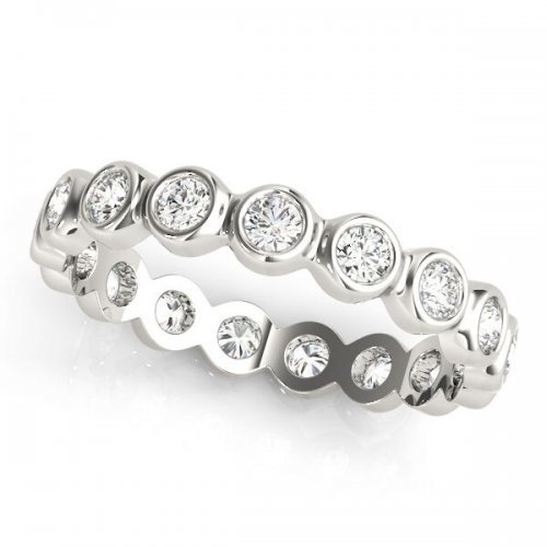 Round Cut Diamond Half Bezel Eternity Ring
