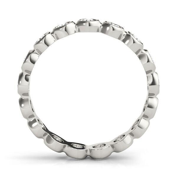 Round Cut Diamond Half Bezel Eternity Ring